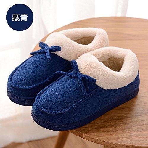 DogHaccd pantofole,Inverno piscina home soggiorno con anti-slip di cotone pacchetto di pantofole con un paio di uomini e di donne spesso calda felpa pantofole a sfera Blu scuro1