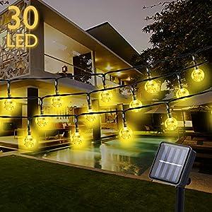 Solar Lichterkette mit 30 LED Kristall Kugelns, 6.5M, 8 Modi Licht, IP65 Wasserdicht,Warmweiß Lichterkette mit Lichtsensor, Kristallbälle Beleuchtung für außen und Innen