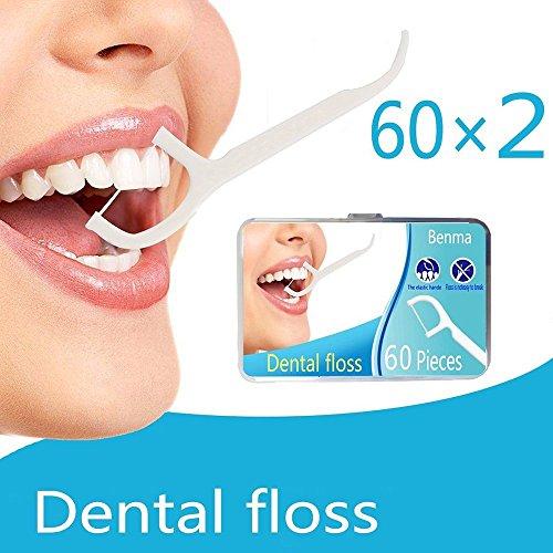 Zahnseide Zahnstocher kunststoff,Benma 120 Stück Zahnfloss Picks mit Griff Zähne Zahnseide Reinigung Flossing Werkzeuge Zahnpflege Flossers Toothpick für Zähne 60 Stück/Packung Weiß