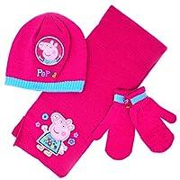 Girls Peppa Pig Pink Winter Beanie Hat, Scarf and Mitten Gloves 3-Piece Set