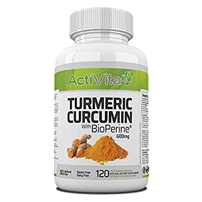 Turmeric Curcumin with Black Pepper Extract (BioPerine®) 600mg, 120 Vegetarian Capsules | Made in UK | With FREE Natural Arthritis Relief eBook |FREE From GMO, Gluten, Nuts, Soy, Hormones and Antibiotics by ActiVita Nutrition