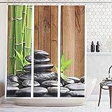 ABAKUHAUS Arte Cortina de Baño, SPA Zen Piedras de Basalto y Cañas de Bambú Imagen Estampa, Material Resistente al Agua Durable Estampa Digital, 175 x 200 cm, Verde