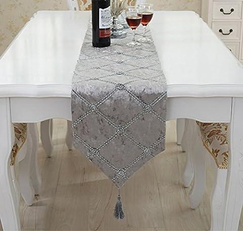 Moolecole Tischläufer Beflockung Geprüftes Rosenmuster mit Quasten für Veranstaltungen Dekor 11 x 71 Zoll Grau