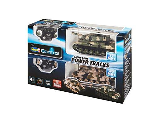 Revell Control 24224 – RC Panzer Set, Battle Game POWER TRACKS, 2 RC Panzer mit Infrarot-Schussfunktion, Soundmodul, Rückstoßeffekt, Mündungsfeuer-LED, Kettenlaufwerk mit Gummikette, MHz - 12
