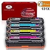 Toner Kingdom 4 Pack Kompatible HP 131X CF210X CF211A CF212A CF213A Tonerpatrone Für HP LaserJet Pro 200 Color M251n,Color M276n, M251nw, M276nw Drucker (1 Schwarz, 1 Cyan, 1 Gelb,1 Magenta)