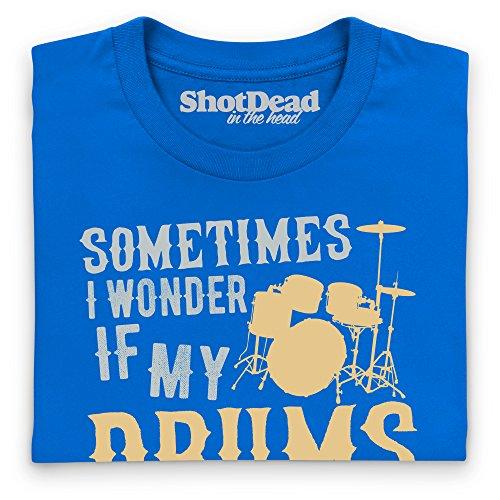 I Wonder If My Drums T-Shirt, Herren Royalblau