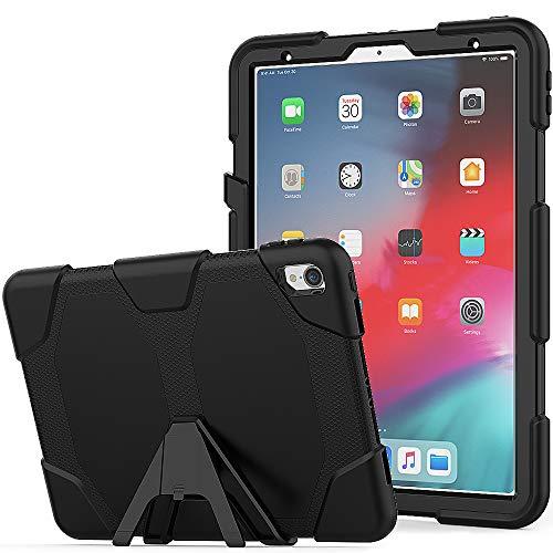 """iPad Pro 11\"""" 2018 Hülle, 3 in 1 Hybrid Stoßfest Hülle Robust Schutzhülle Tasche mit Integrierter Displayschutzfolie & Ständer Cover für Apple iPad Pro 11\"""" 2018 Release - Schwarz"""