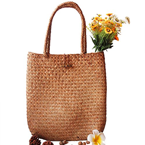 Beatie Damen Stroh Schultertasche Tragetasche Blumenkorb Tasche Reise Handtasche Einkaufstaschen Geflochten -