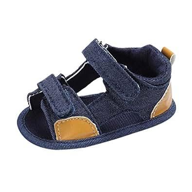 Koly Pattini di Bambino Bambino Appena Nato Canvas s Sandali Scarpe Suola Molle Crib Toddler (Age:0~6 Month, Blue)