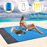SAKUUMI Beach Mat, Sand Free Beach Blanket Compact Lightweight Picnic Blanket Strong Rip-stop Waterproof Sand Mat with Anchor Stakes and Loop, for Beach, Picnic, Camping, Outdoor Events, 79 * 83inch