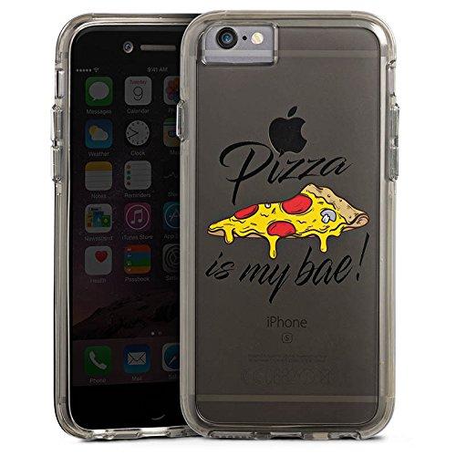 Apple iPhone 6s Bumper Hülle Bumper Case Glitzer Hülle Motiv ohne Hintergrund Pizza Spruch Bumper Case transparent grau
