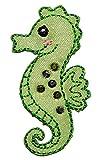 Unbekannt Seepferdchen / Seepferd 2,9 cm * 5,1 cm Bügelbild - Abzeichen - Aufnäher Applikation Schwimmschule Schwimmen Wasser