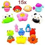 JZK 15 Galleggiante animali in gomma spruzzare acqua fare rumore giocattolo da bagno per bambini gioco bagnetto neonato gioco bagno bimbi animaletti bagno