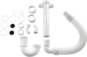 Xavax Flexibler Röhrensiphon für Küchenspüle (Waschmaschine und Spülmaschine, 1 1/2 Zoll, 2 Siphon-Geräteanschlüsse 1 Zoll (2,54 cm) und zwei Geruchsverschlüsse)