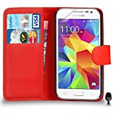 Best Cases For Galaxy Core Primes - Premium Leather RED Wallet Flip Case FOR Samsung Review