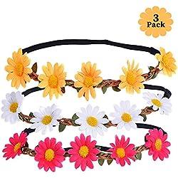 XCOZU - Diadema de flores con diseño de margaritas para fotografía, viajes y bodas, 3 colores