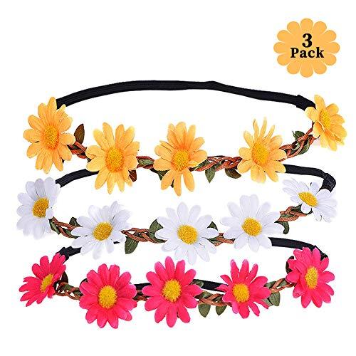 Daisy Blumen Stirnband Haarband Hochzeit Haarkranz Krone, Haarband Blumen mit Justierbaren Elastischen Band Damen Mädchen für Party Strand Haarreif Blumen Kopfschmuck ()