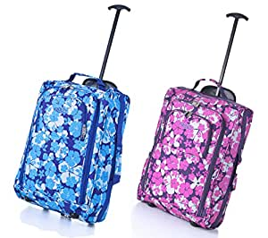 Set of 2 Frenzy/5Cities 55cm/50cm Lightweight Trolley Hand Luggage Bag - Approved Ryanair & Easyjet 2 Wheel Cabin Carry On Board Baggage. 33L/42L Travel Suitcase Bag with Padlock (Blue 55CM/Pink 50CM)