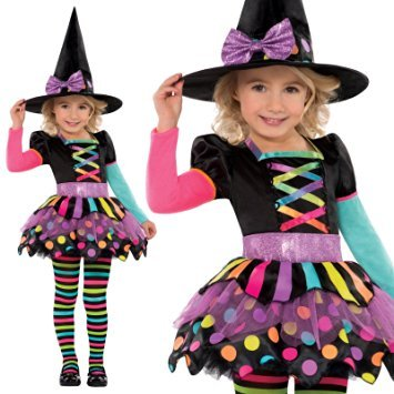 Neon Witch Costume (3-8 years)  Who needs a green witch? This cute and colourful fancy dress outfit includes a dress with rainbow lace-up bodice, a skirt and colourful tights. The witch hat is festooned with a purple ribbon.