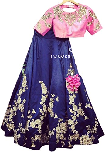 Shreebalaji Collection Women's Silk Multicolor Lehenga Choli (Blueltkan_Free Size)