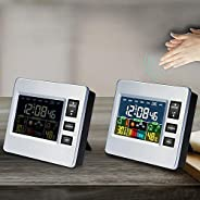 Students Alarm Clock Digtal LCD Wakeup Alarm Sound and Touch Control, Temperature/Humidity/Time/Week/Weather F