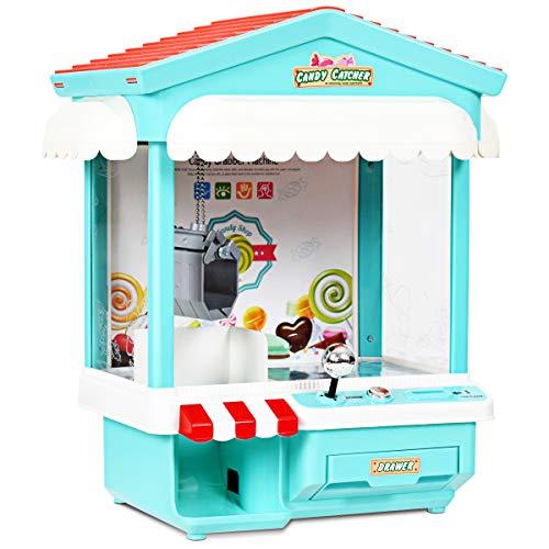 COSTWAY Spielautomat mit Musik, Süßigkeiten Automat in 7-Farbiger Lichter, Candy Grabber ab 3 Jahren, Greifautomat inkl. 8 Spielmünze, Greifmaschine 33,5 x 21 x 37cm (blau)