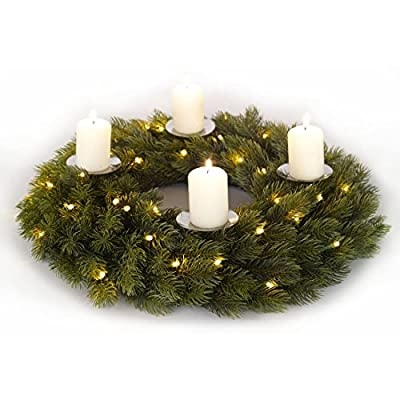 Advent Wreath 40cm Luxury Pre-Lit Decoration Indoor 48 Warm White LEDs Pillar Candle Holders by XS-Stock.com Ltd