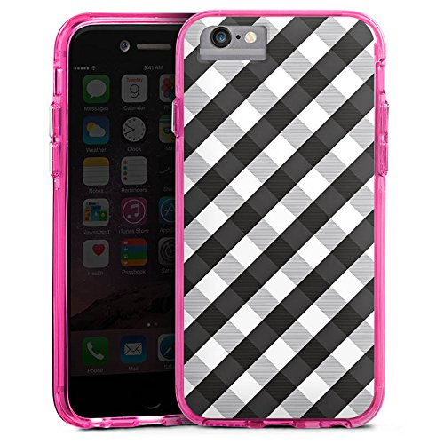 Apple iPhone 7 Plus Bumper Hülle Bumper Case Glitzer Hülle Karo Style Schwarz Bumper Case transparent pink
