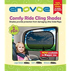 Pare-Soleil Voiture Bébé - (2 pièces) - pour VUS, mini-fourgonnettes et berlines grand format - Pare-Soleil Fenêtres de Voiture pour bébé, parfait pour bloquer 97 % des rayons UV - Grande taille (53 x 35 cm)