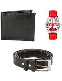 Hob London Fashion With Device Black Wallet, Belt, Watch For Men (HLF-Giftset6bk_belt_wallet_watch)