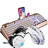 Gaming Headset Tastatur Maus Wired Gaming Tastatur und Maus Combo mit LED Leuchtenden PC Over-Ear Headset Set (Color : White)