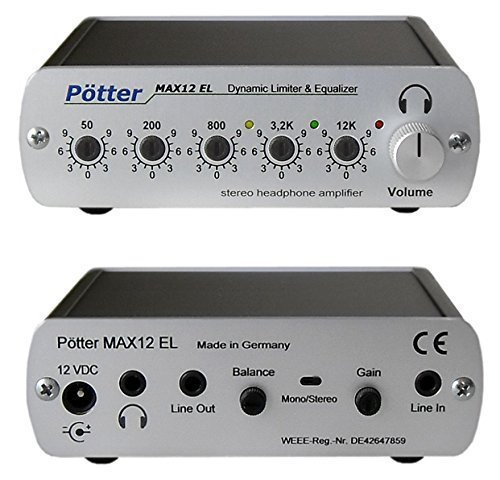 Kopfhörerverstärker mit Limiter, Equalizer (5 Fach Klangregelung) und zuschaltbarer automatischer Lautstärkeanpassung hoher Qualität, für alle Audioanwendungen -