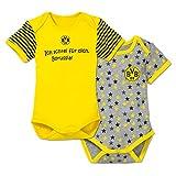 BVB 09 Borussia Dortmund Babystrampler Babybody 2er Set (74/80, gelb/grau)