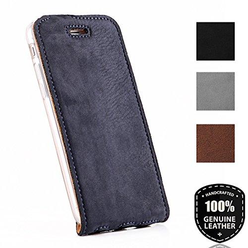 SURAZO Apple iPhone 5/5s/SE - Vertikal Ledertasche Schutzhülle Flip Case Hülle aus Nubukleder und Veloursleder mit Kreditkarten Fächer (Blau) Vintage Kollektion für iPhone 5/SE