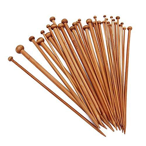 36 Einzel -, (Wadoy Set 36 Einzel-spitzen Stricknadeln aus Bambus von 18 verschiedenen Groessen karbonisiert)