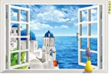 3D fake window Aegean sea view living room bedroom wall sticker waterproof removable
