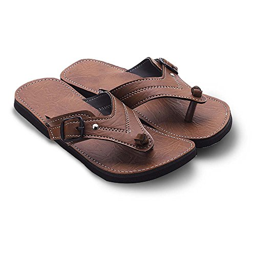 KALAKAR INDIA Men Boy Fashionable V-Shape Tan Ethnic Mojari Chappal 203 - 10  available at amazon for Rs.299