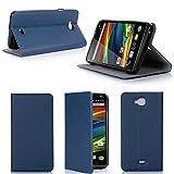 Wiko Slide Tasche Leder Hülle blau Cover mit Stand - Zubehör Etui Wiko Slide Flip Case Schutzhülle (PU Leder, Handytasche blau blue) - XEPTIO accessories