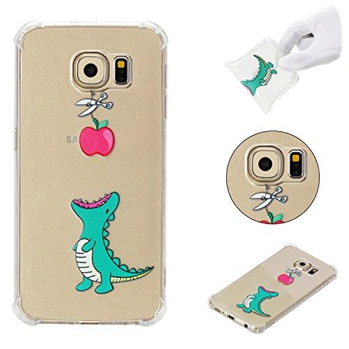 Klassikaline Hülle für Samsung Galaxy S6, Case Cover für Samsung Galaxy S6, [Schönes Musterdesign] Ultra Slim Transparent Handy Hülle Schutzhülle Etui Bumper für Samsung Galaxy S6 - Krokodil Apfel