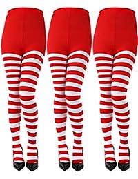 Sumind 3 Pares de Medias de Rayas de Navidad Calcetines de Rayas Largos Calcetines de Fibra Poliéster para Mujeres Chicas Fiesta de Disfraz de Navidad