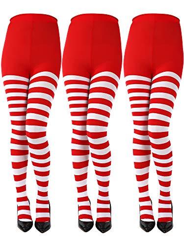 Sumind 3 Pares de Medias a Rayas de Navidad de Longitud Completa Calcetines Altas de Mulso para Mujeres(Rojo/Blanco, Talla de Adulto)