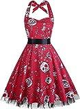 Damen Kleid OTEN 1950er Neckholder Vintage Retro Partykleider Festliche Rockabilly Kleid Cocktailkleid (XXXL, Schädel Rot)