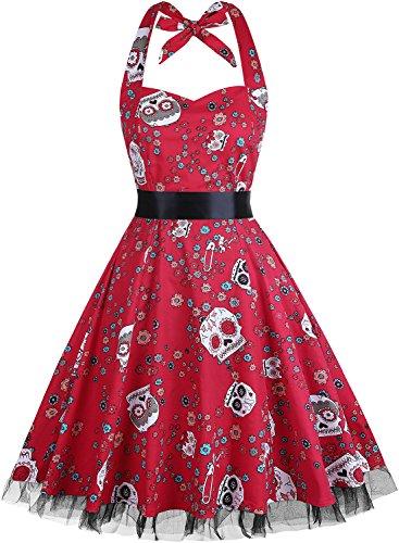 Damen Kleid OTEN 1950er Neckholder Vintage Retro Partykleider Festliche Rockabilly Kleid...