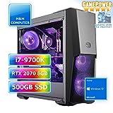 M&M Computer HighEnd PC Wasserkühlung RGB, Intel i7-9700K CPU Eight-Core, VGA GeForce RTX2070 8GB Gaming, 480GB SSD, 16GB DDR4 RAM, Gigabyte RGB Mainboard, Windows 10 Home