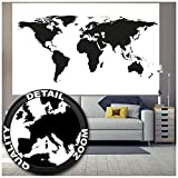 Great Art Fototapete - Weltkarte Schwarz Weiß - Wandbild Dekoration Globus Karte Erde Kontinente Atlas Landkarte World Map Weltkugel Welt Map of The World Wandtapete Fotoposter (210 x 140 cm)