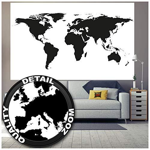 Great Art XXL Poster Mapa Mundo Decoración Blanco