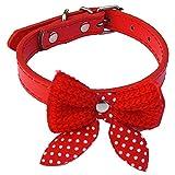 Ogquaton Halsbänder für Haustiere, aus PU-Leder, verstellbar, Plüsch, modisch, gewebt, Schleife, für Hunde und Katzen (1 Stück, Violett)