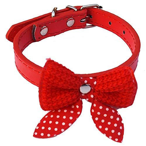 Ogquaton Cute Fashion Woven Fluff Bowknot einstellbar PU Leder Pet Halsbänder für Hund und Katze (1Pcs, Lila) Woven Bogen