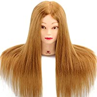 Training Head, Neverland 22 Inch 75% Real Human Hair Cosmetology Hairdressing Mannequin Manikin Doll (Table Clamp Included)