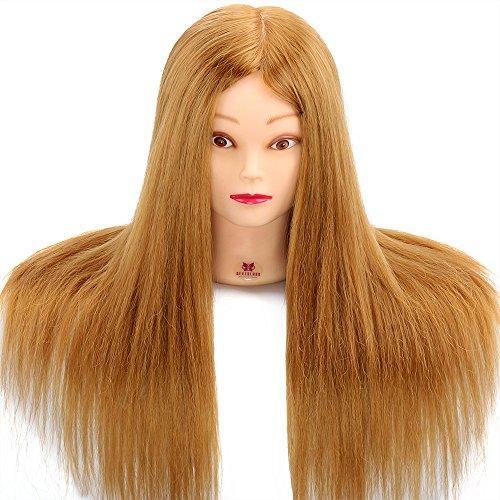 Trainingskopf, Neverland 22 Zoll 75% Echthaar Kosmetologie Friseur Schaufensterpuppe Puppe (Tischklemme Enthalten)